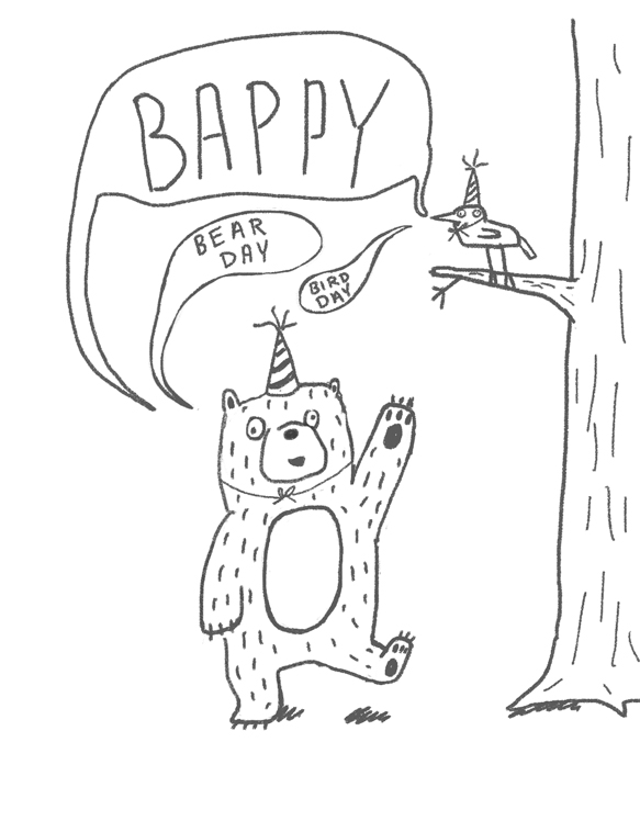 Someone on Twitter had a birthday and I snagged the bear and bird to do up a quick card. Hi bear. Hi bird.