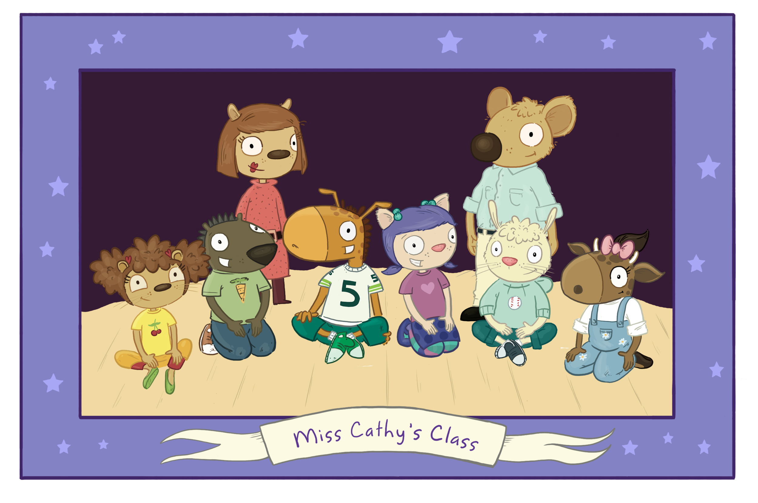 MIss Cathy, Mr. D, Emma, Ajay, Percy, Freda, Carlos and Camille