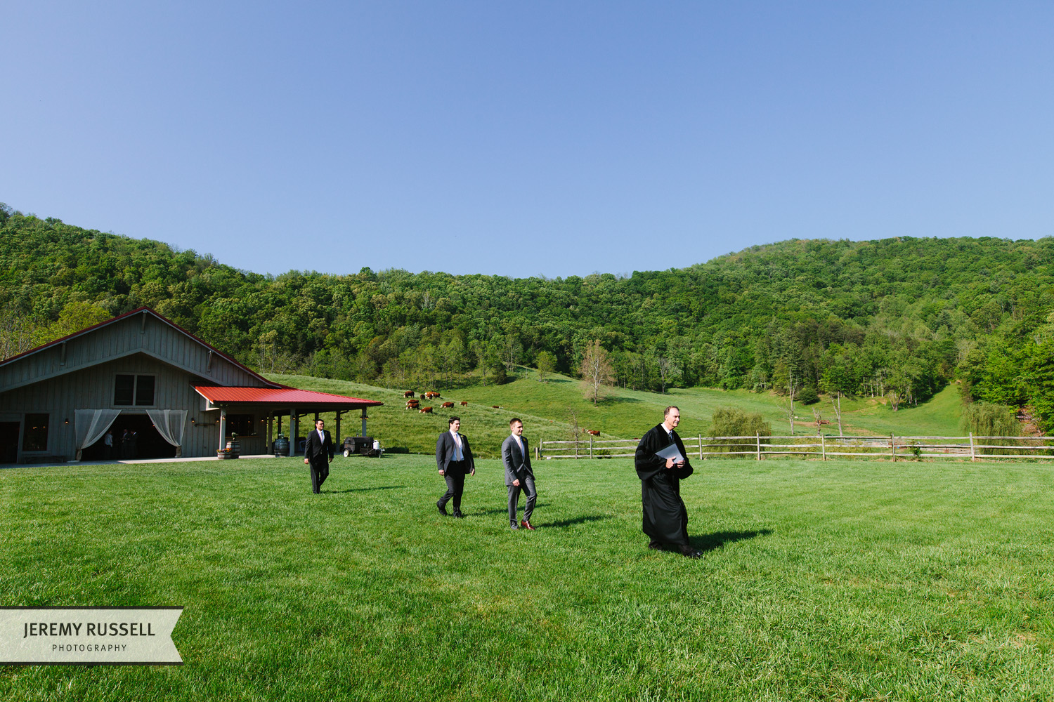 Groom and groomsmen at Claxton Farm