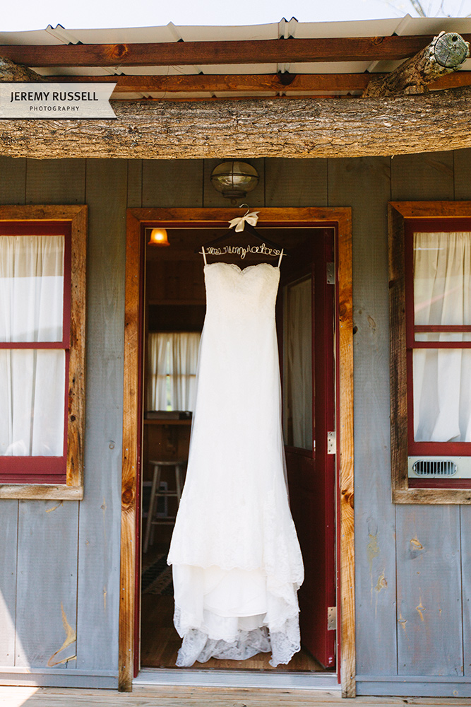 Wedding dress at Claxton Farm