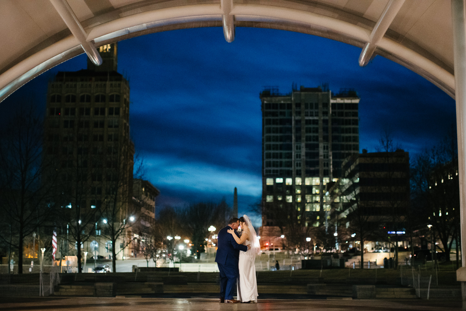 Bride and Groom in Downtown Asheville