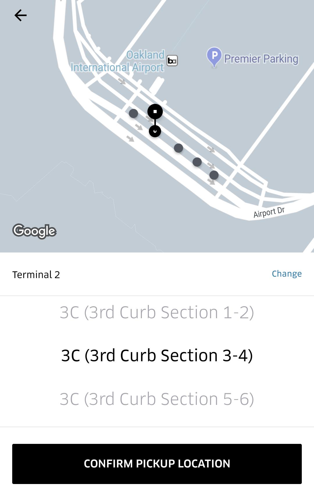 Oakland Airport (OAK) PIckup Zones
