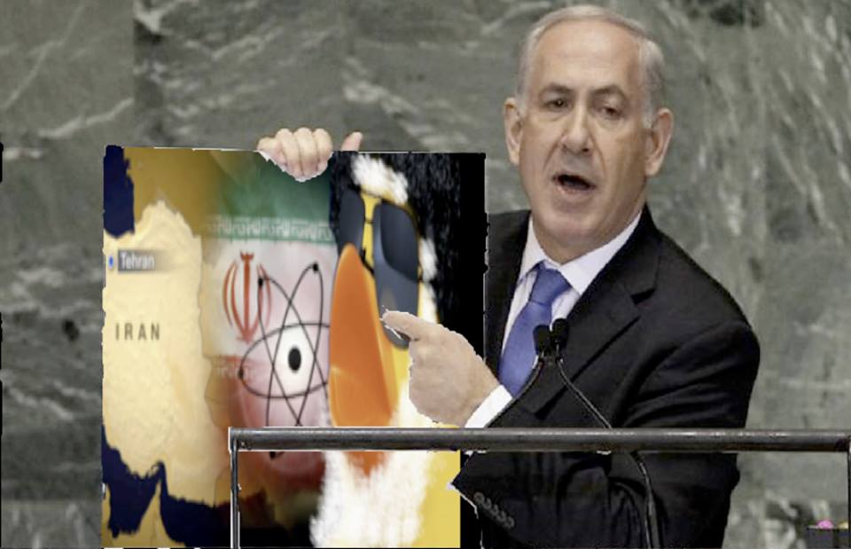Netanyahu warned the UN of the Iranian nuclear duck peril.