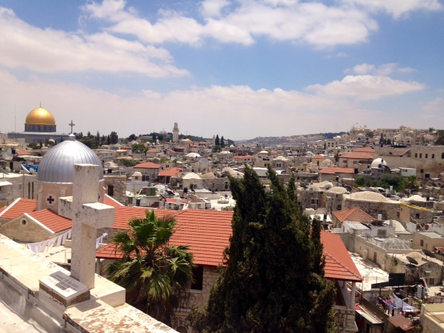 "Jerusalem.  A beautiful but sad city, in which every inch is being bitterly fought for. Many individual houses in the Old City's historically Muslim or Christian quarters have been ""settled,"" occupied by Israelis who drape them in flags and barbed wire."