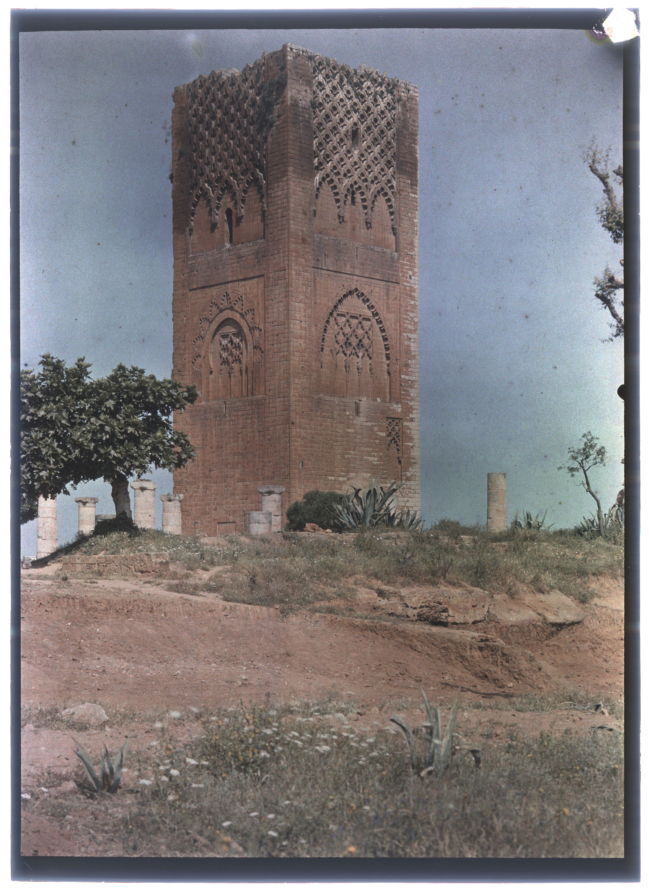 I also appreciated the way sites were illustrated with the oldest extant photographs or slides. Here is a 1937 photograph of the Tour Hassan, built centuries before as part of a monumental mosque that was never completed, in Rabat. i wish the site was still this charmingly wild.