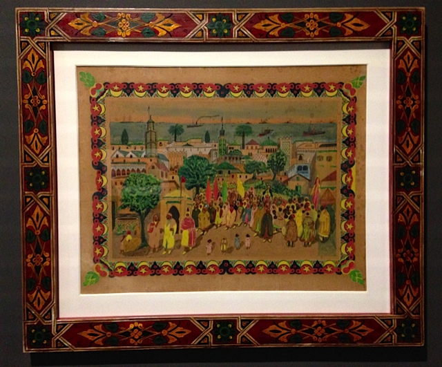 R'bati was the first painter to attempt naturalistic subjects. this is a view of a procession in tangiers