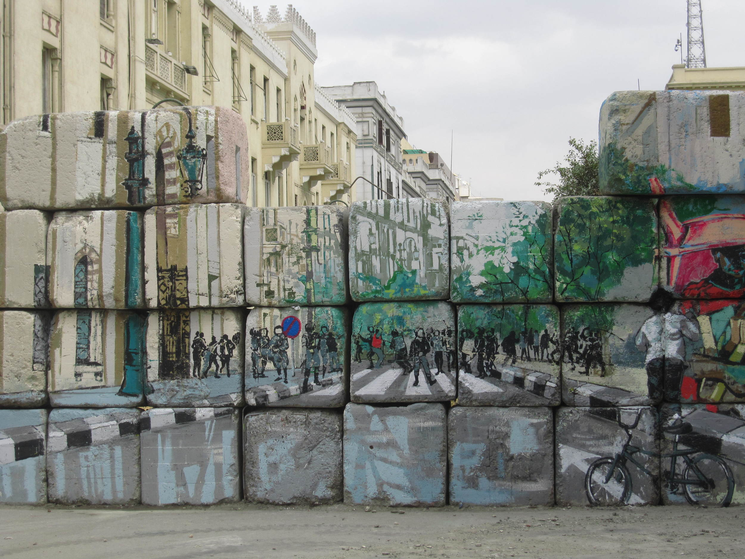 Graffiti on a blockade put up by the authorities in March 2012
