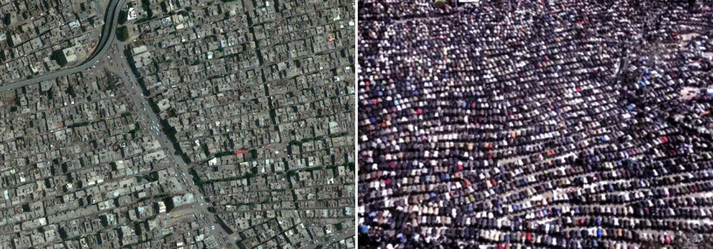 One of the densest cities in the world. Informal housing in Cairo and protesters praying in Tahrir. Photo courtesy of Fady El Sadek.