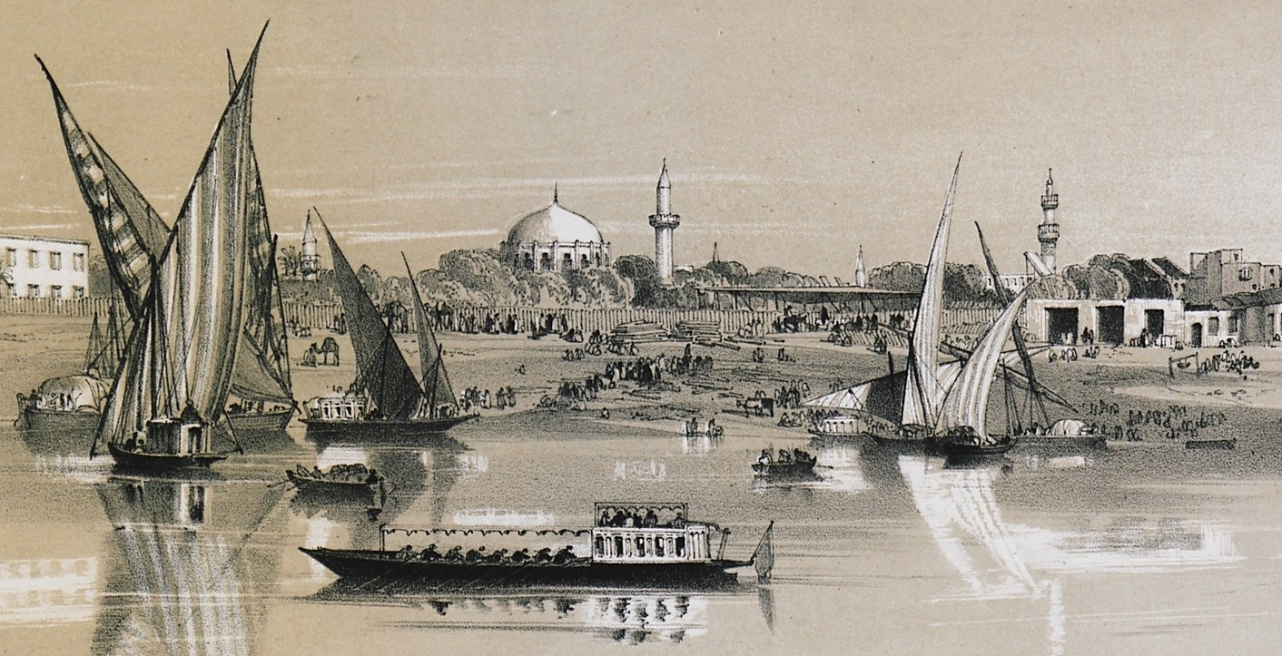 View of Bulaq quarter, Cairo. HAY, Robert, Esq. Illustrations of Cairo, London, Tilt and Bogue, 1840.