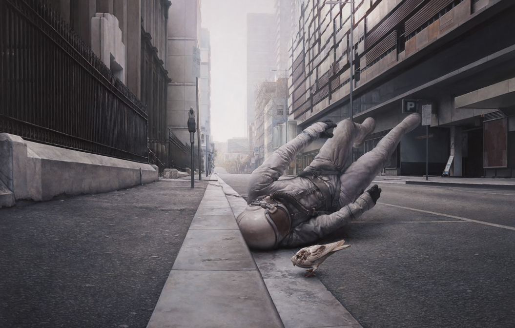The Street - 2010, Oil on Board, 34 x 25 inches