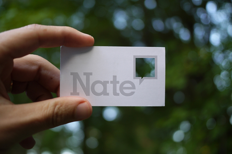Business card carrying over the idea of Nate's point of view.