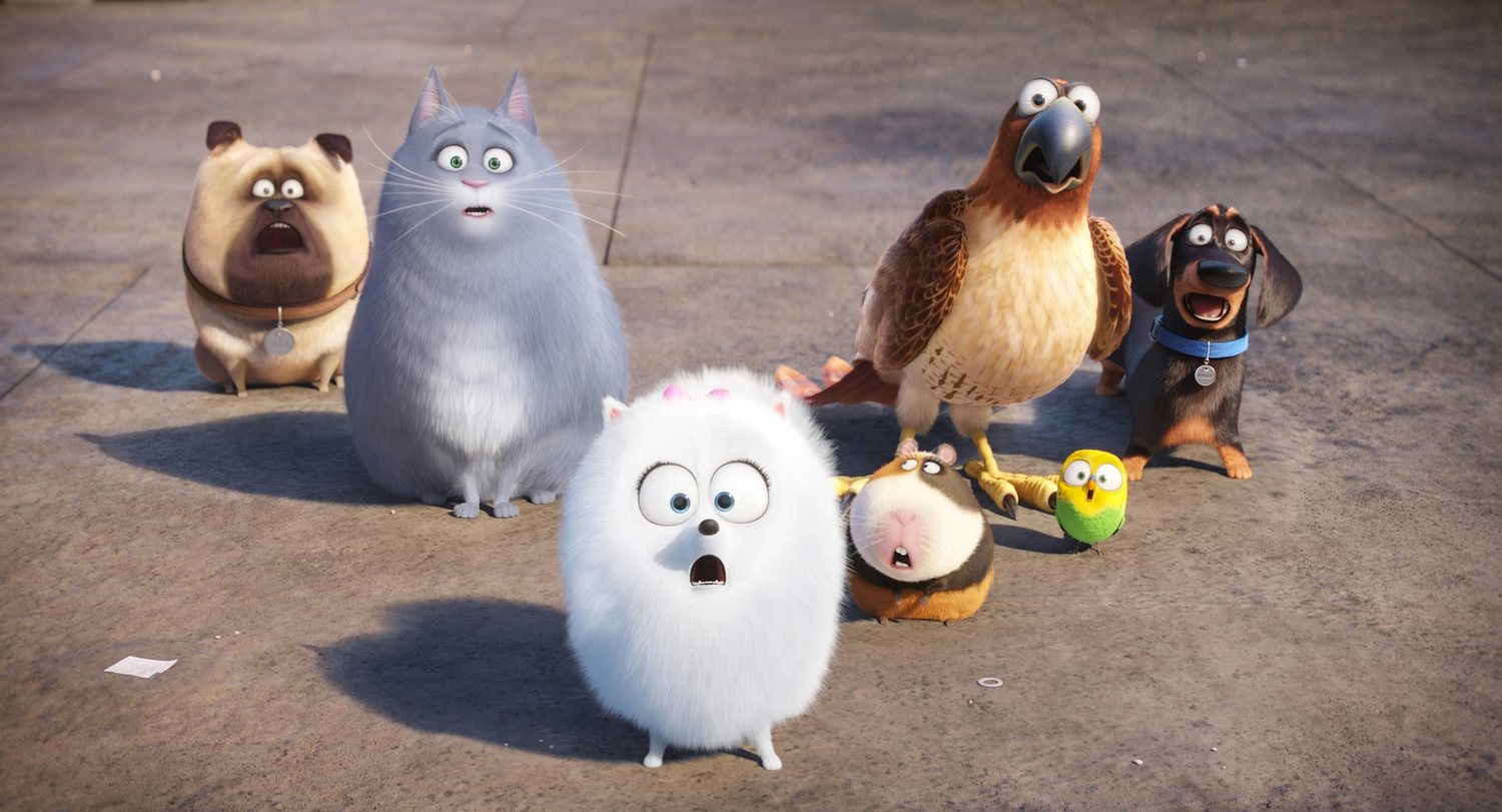 """(L to R) Mel (BOBBY MOYNIHAN), Chloe (LAKE BELL), Gidget (JENNY SLATE), Norman (CHRIS RENAUD), Tiberius (ALBERT BROOKS), Sweetpea and Buddy (HANNIBAL BURESS) in Illumination Entertainment and Universal Pictures' """"The Secret Life of Pets,"""" a comedy about the lives our pets lead after we leave for work or school each day."""