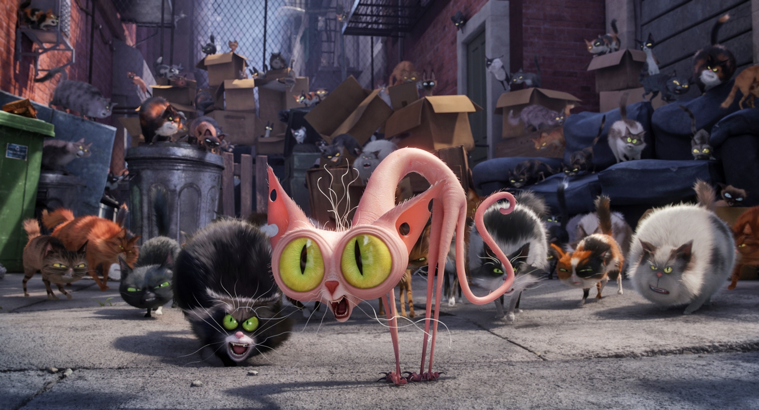 """(Center) Ozone (STEVE COOGAN) is an alley cat with an attitude in Illumination Entertainment and Universal Pictures' """"The Secret Life of Pets,"""" a comedy about the lives our pets lead after we leave for work or school each day."""