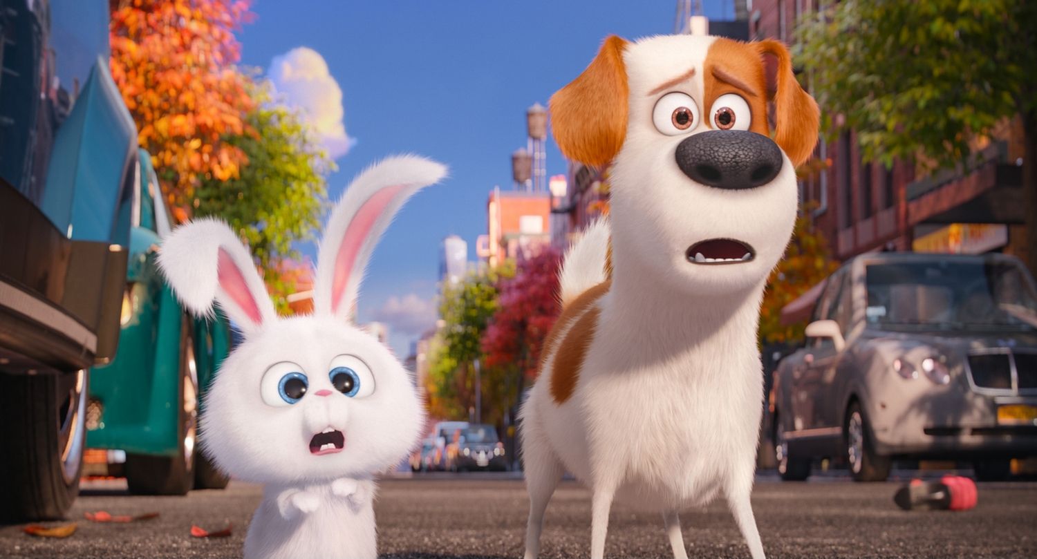 """Pampered terrier mix Max (LOUIS C.K.) and adorable and deranged bunny Snowball (KEVIN HART) in Illumination Entertainment and Universal Pictures' """"The Secret Life of Pets,"""" a comedy about the lives our pets lead after we leave for work or school each day."""