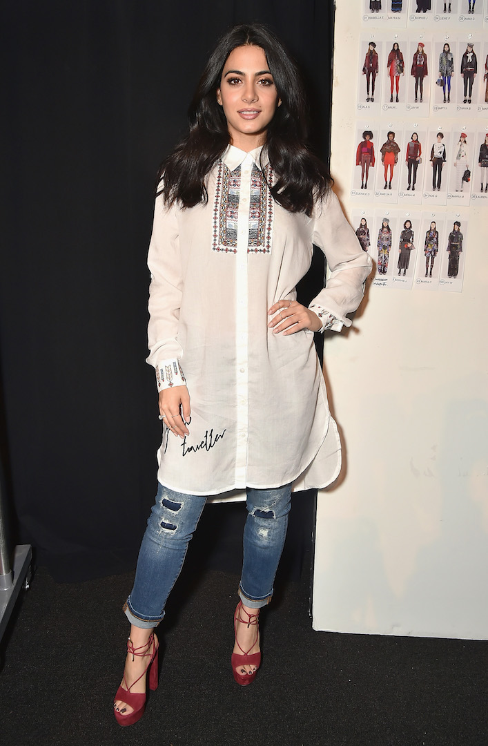 Emeraude Toubia attends the Desigual fashion show during New York Fashion Week at Gallery 1, Skylight at Clarkson Sq on February 9, 2017 in New York City.