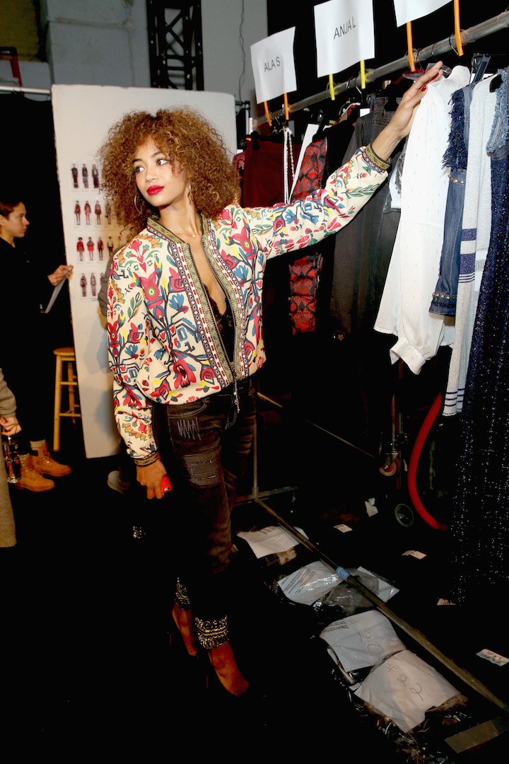 Berta V·zquez poses backstage before the Desigual fashion show during, New York Fashion Week: The Shows  at Gallery 1, Skylight Clarkson Sq on February 9, 2017 in New York City.