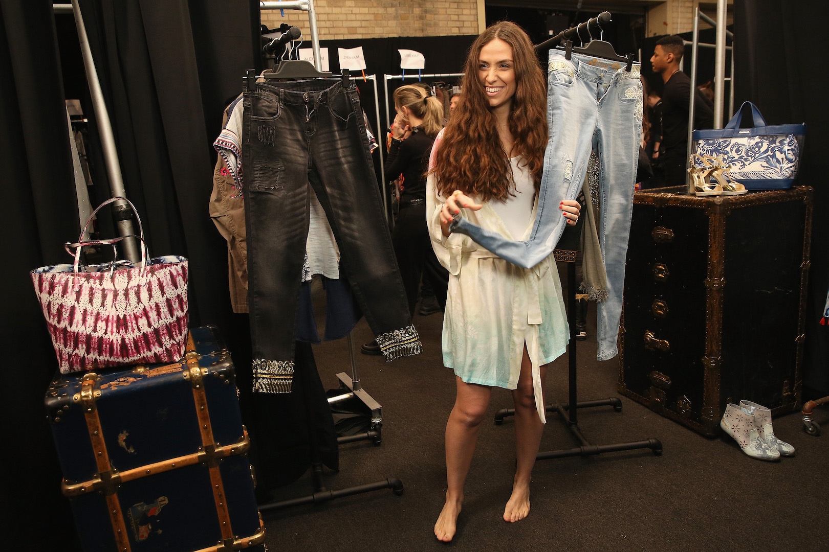 NEW YORK, NY - FEBRUARY 09:  Erika Boldrin backstage before the Desigual fashion show during, New York Fashion Week: The Shows  at Gallery 1, Skylight Clarkson Sq on February 9, 2017 in New York City.  (Photo by Robin Marchant/Getty Images for Desigual)