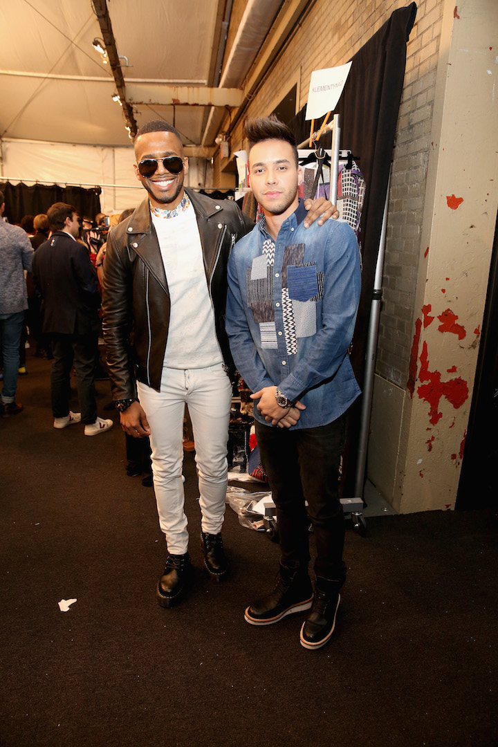 NEW YORK, NY - FEBRUARY 09:  Eric West (L) and Prince Royce pose backstage before the Desigual fashion show during, New York Fashion Week: The Shows  at Gallery 1, Skylight Clarkson Sq on February 9, 2017 in New York City.  (Photo by Robin Marchant/Getty Images for Desigual)