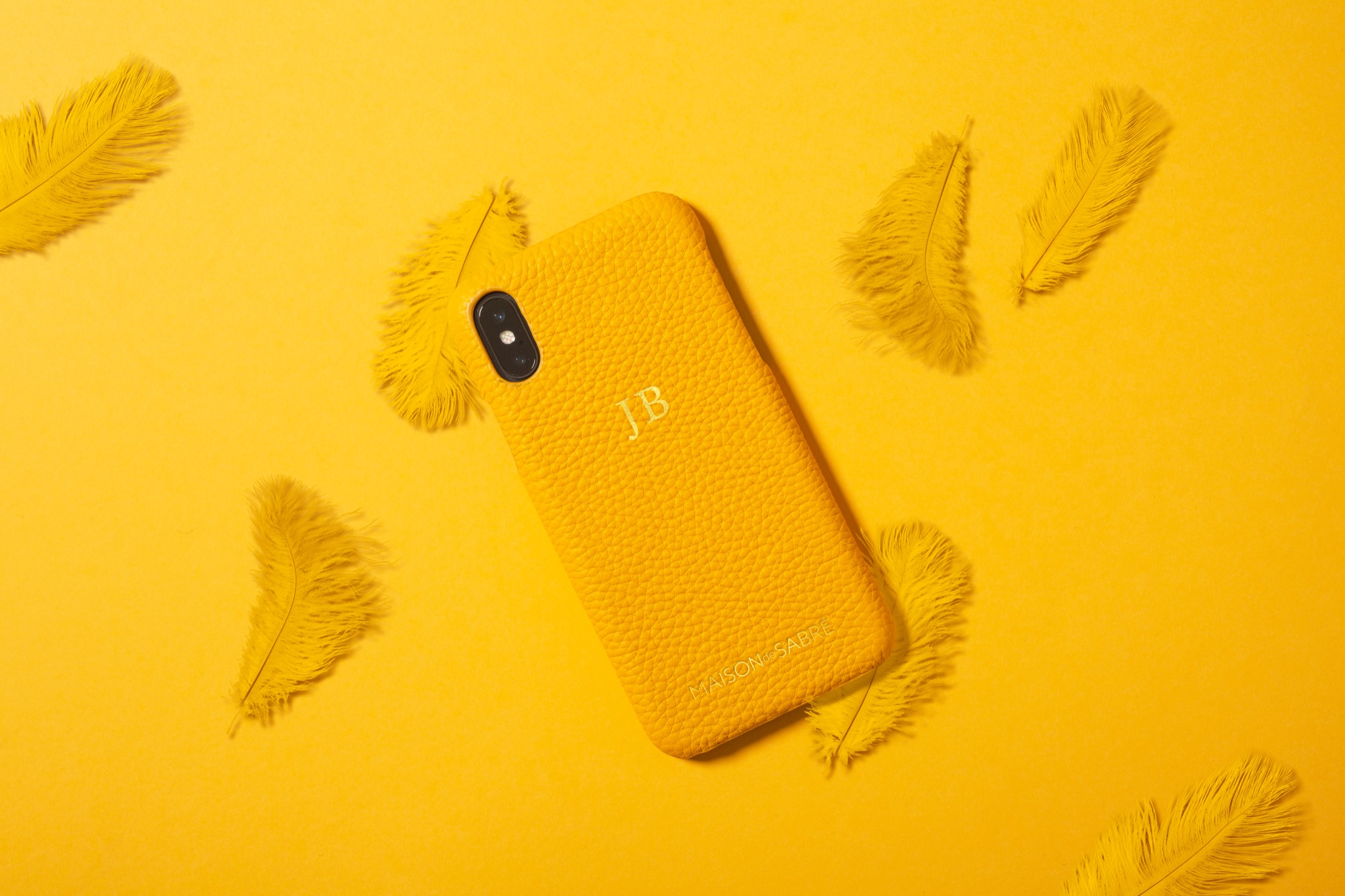 Maison de Sabre - iPhone X Canary Yellow in premium bovine pebble grain leather with gold monogramRRP: 79.99 AUDSize: iPhone XStockist: Maison de SabréIn store: Currently Available