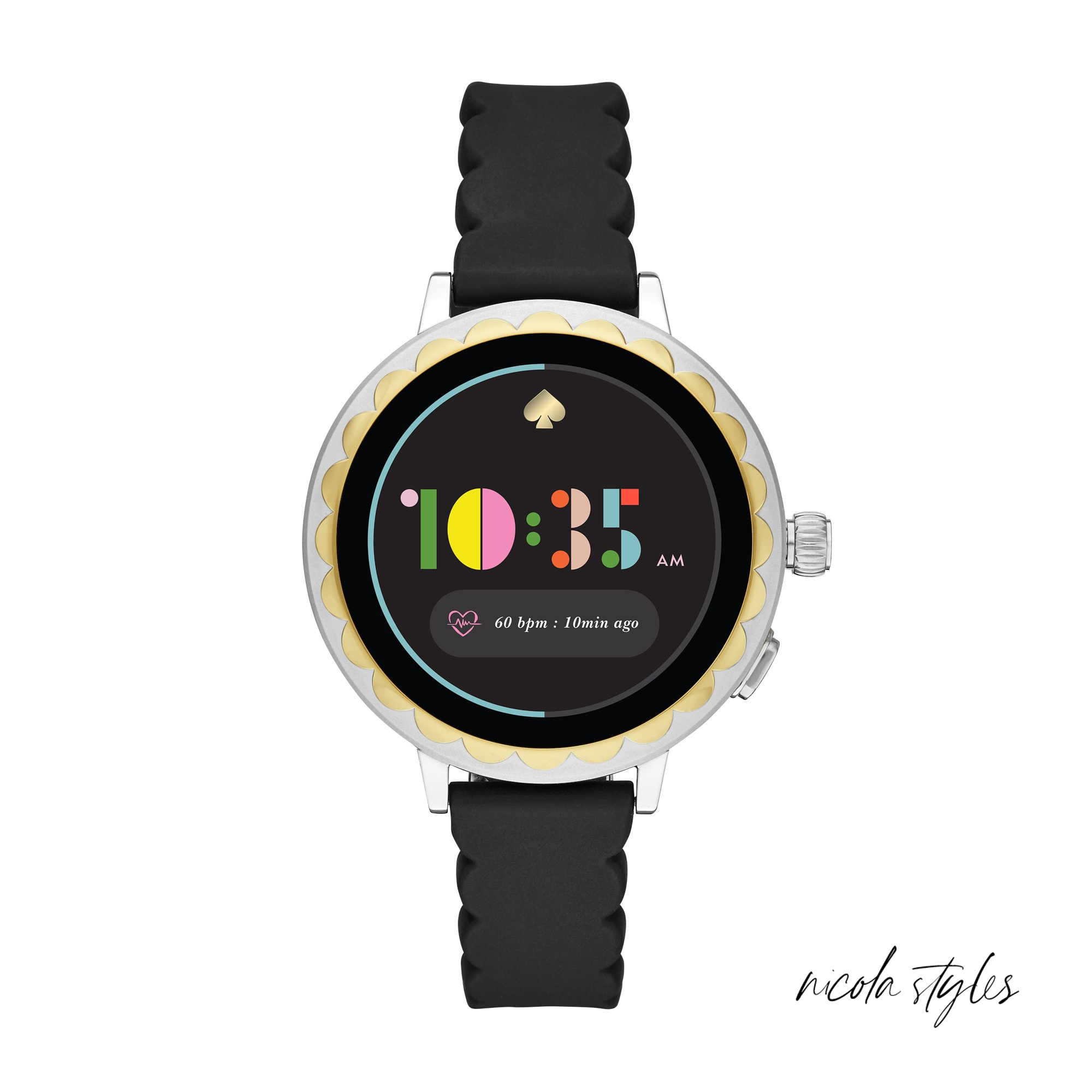 DETAILS - kate spade made this touchscreen smartwatch 2 for those who love to multi-task and multi-slack. It keeps you wise to the time and comes equipped with stylish tools (you can match the watch face to your outfit) and ones to stay organized on-the-go or on the couch. Powered by Wear OS by Google™, it lets you download apps, track activities, monitor your heart rate, access google assist, make payments, and set personal goals. You can also get calls, message and app alerts, toggle between function-centric screens, and control music. The device is voice-activated (hello!) and pairs wirelessly with both iPhones® and Android™ phones.