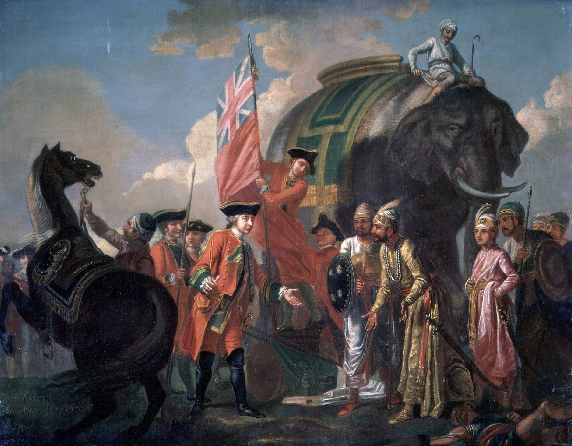 Robert Clive  meeting with Mir Jafar after the Battle of Plassey