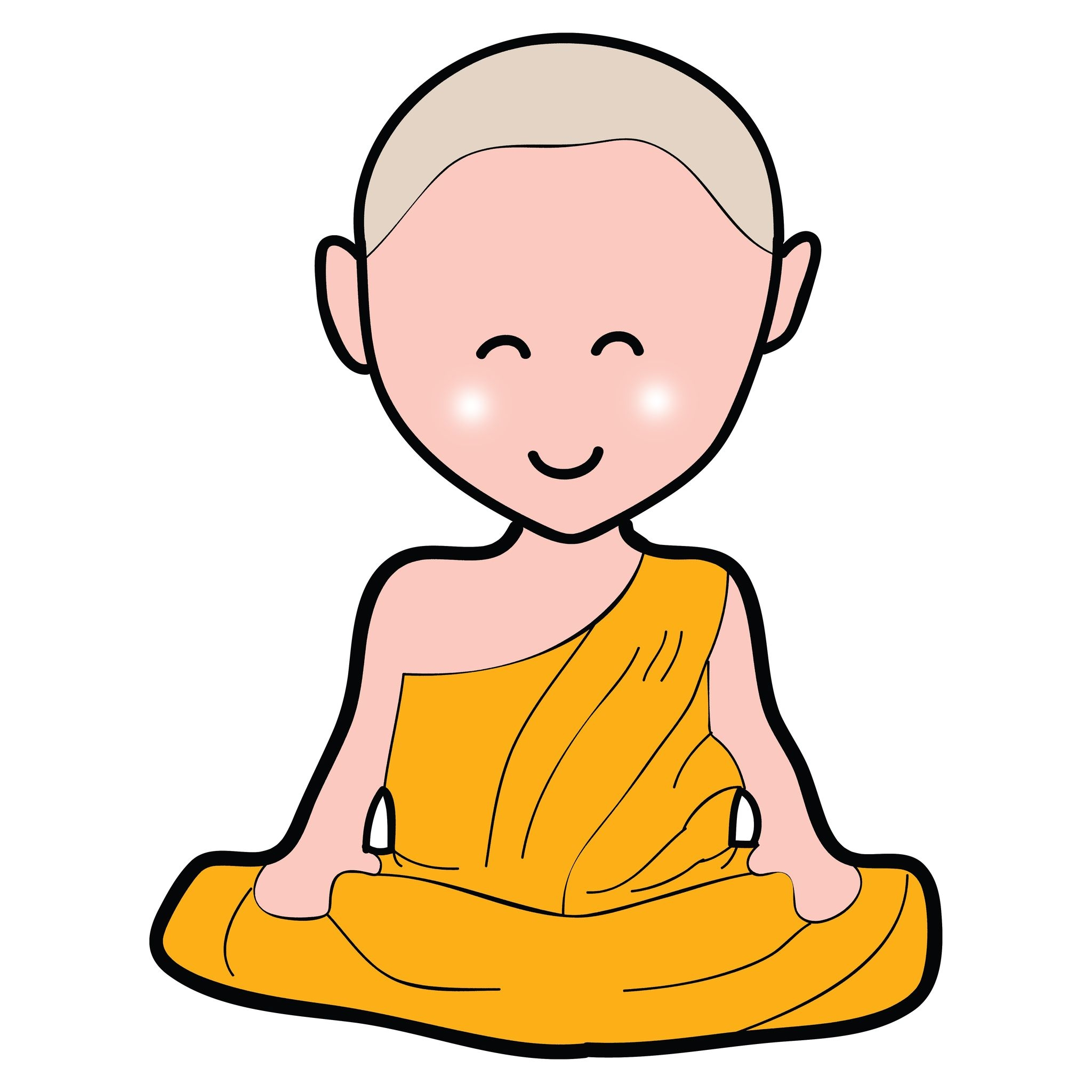 16055586 - buddhist monk cartoon hand drawn illustration