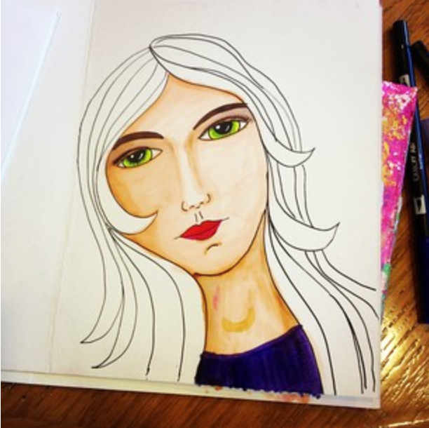 (She doodled this! And said she wasn't good at faces. PSHAW! Help me convince her she is in the comments below!)