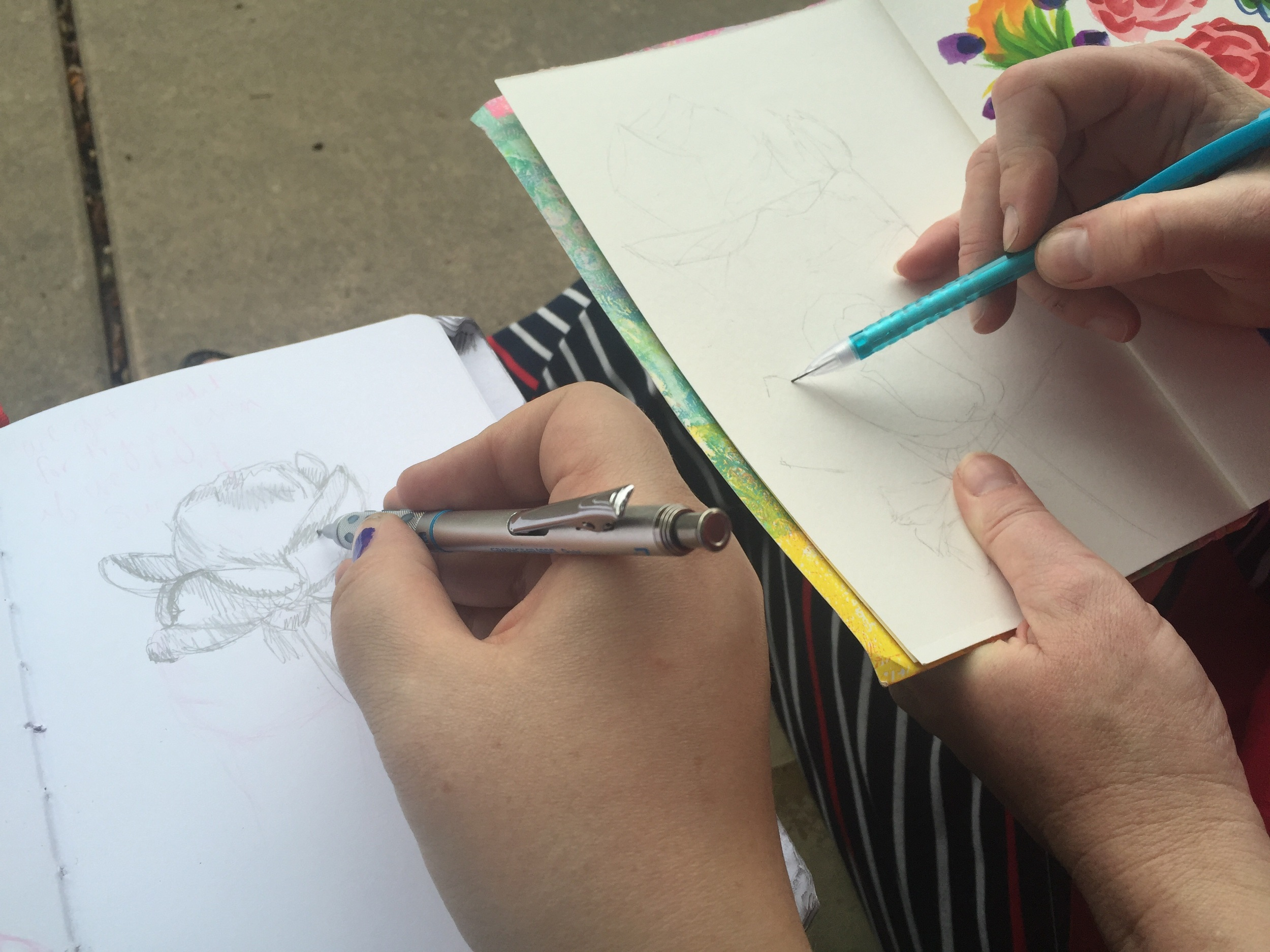 Bunny and I sketching at the Balboa Park Rose Garden.