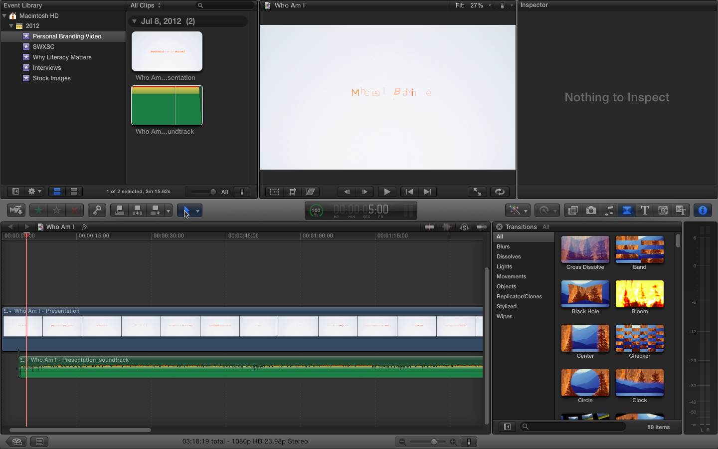 Mix the audio and the video together, make final adjustments and export movie.