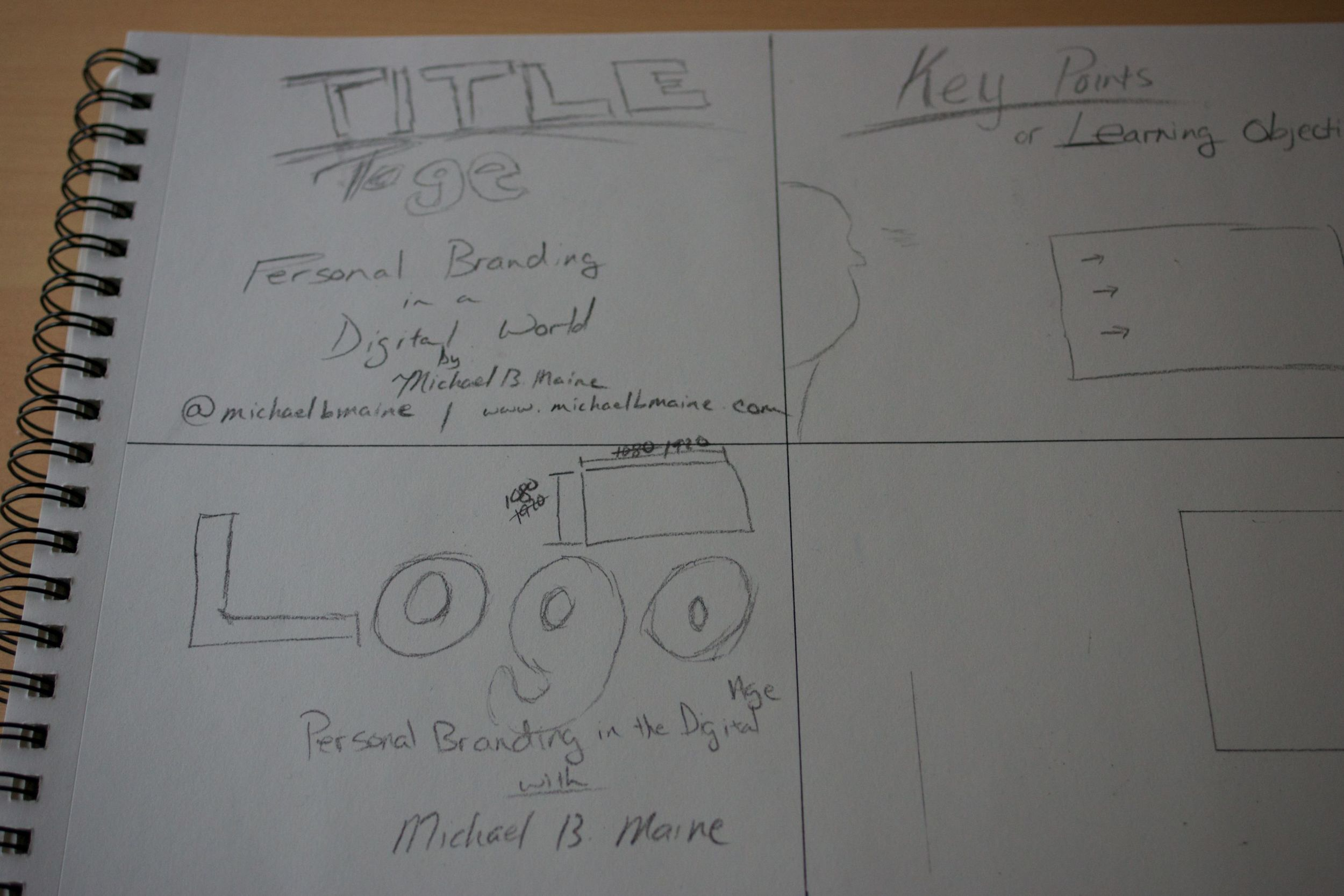 Sketching out a title slide for an upcoming presentation