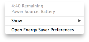 Screenshot showing time remaining after unplugging my laptop.