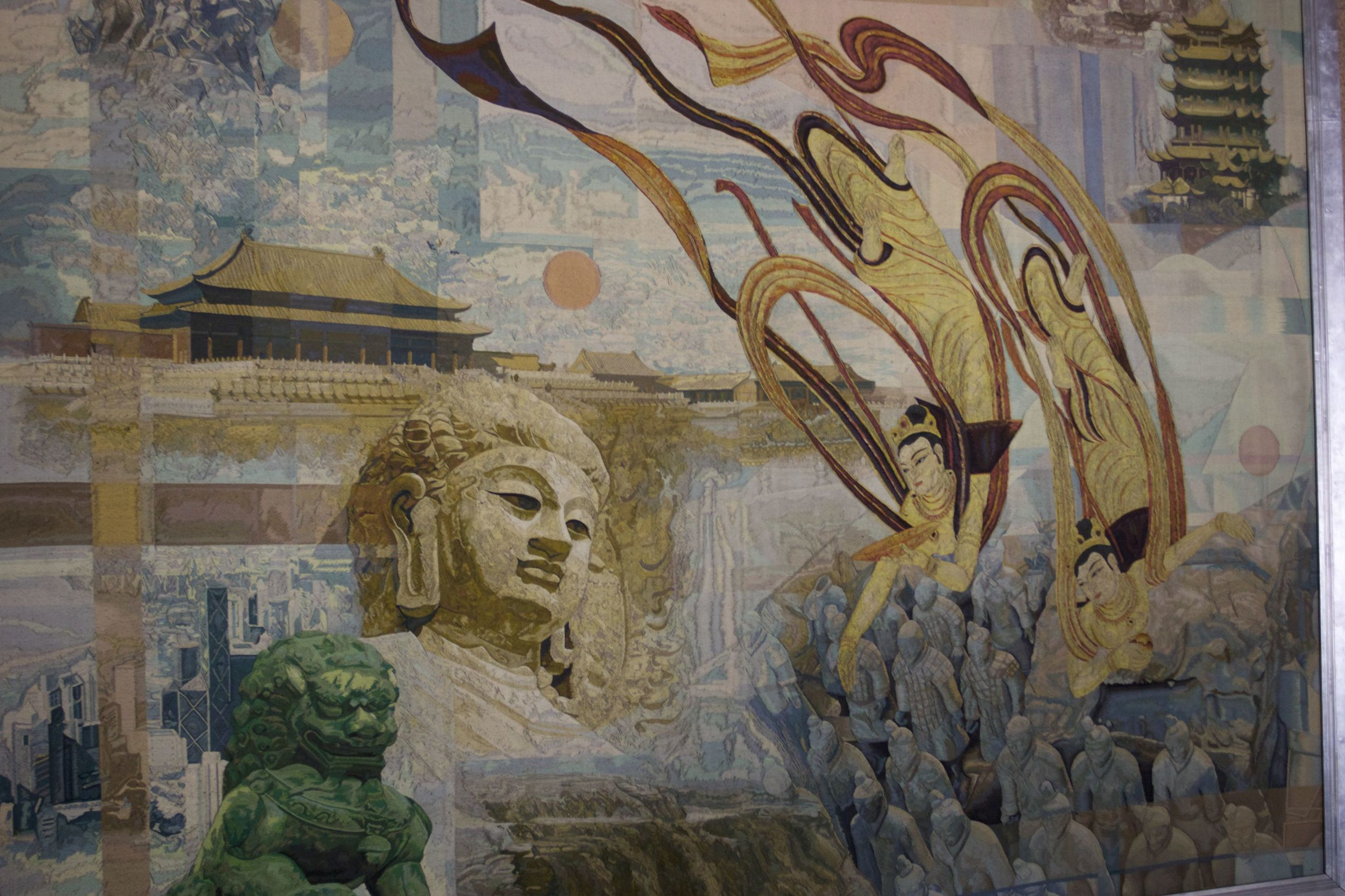 Painting above the stairway in the Beijing Capital International Airport