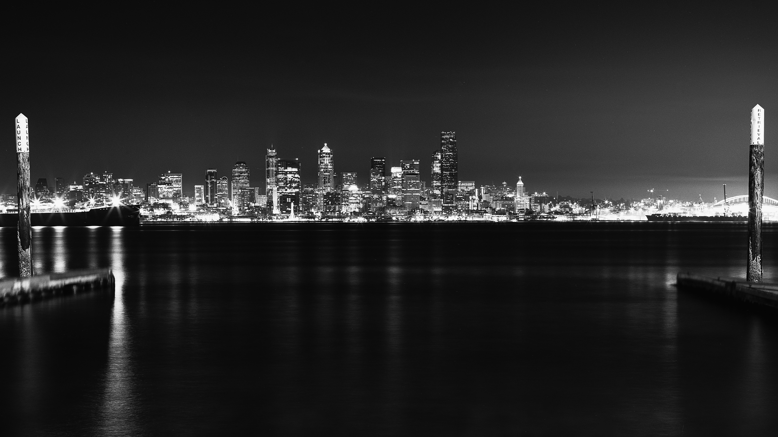 Downtown Seattle From Alki Beach - Shot with Mamiya RB67 + Fujifilm Acros Neopan 100 film developed with Ilford Ilfosol 3.