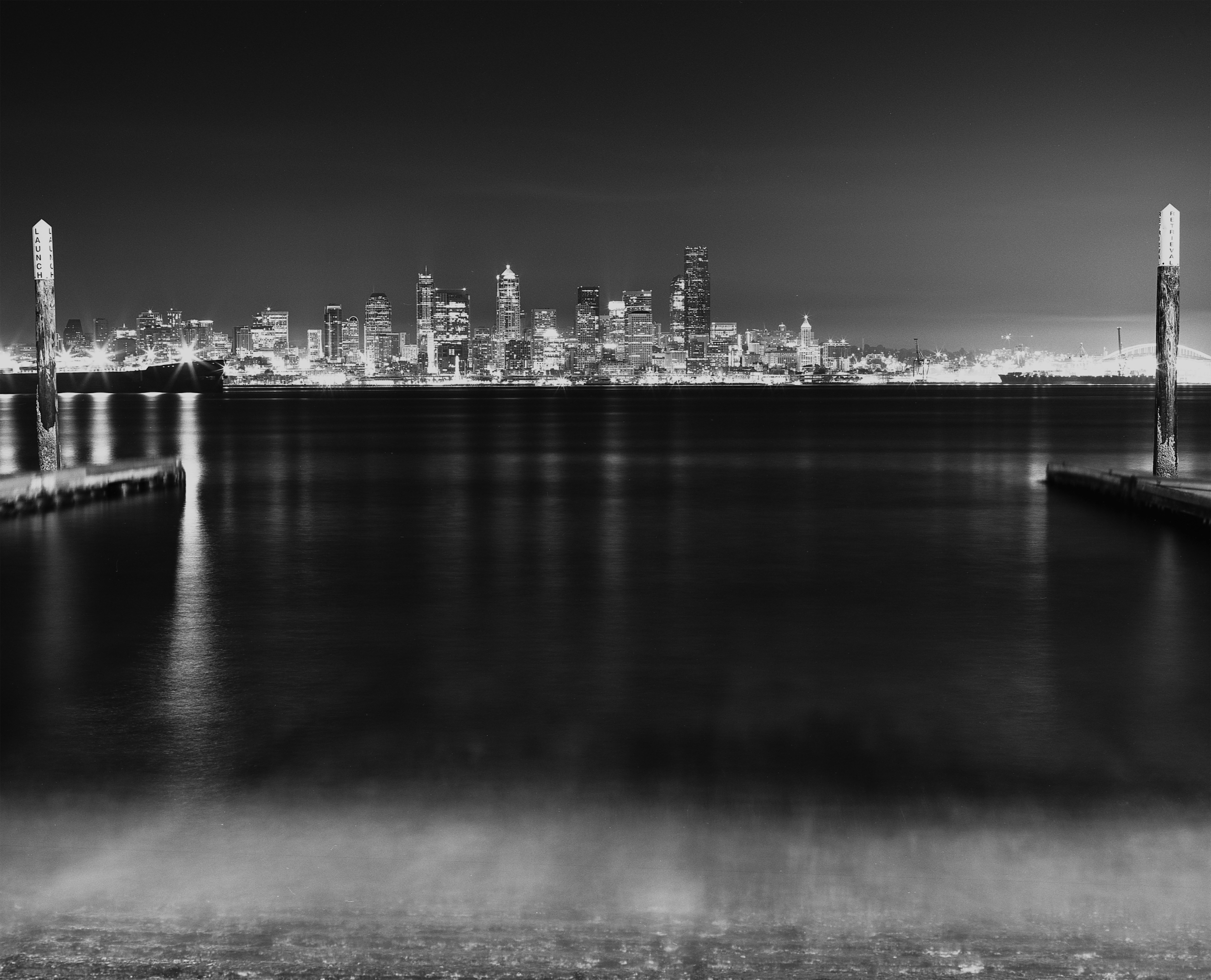 View of Downtown Seattle from Alki Beach, West Seattle. Image taken with Mamiya RB67 + Fujifilm Acros Neopan 100 and developed in Ilford Ilfosol 3.