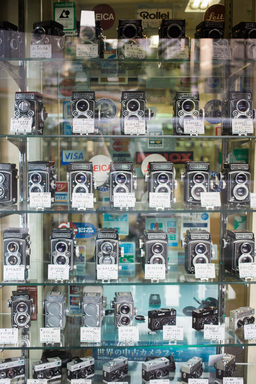 Window full of Rolleiflex cameras