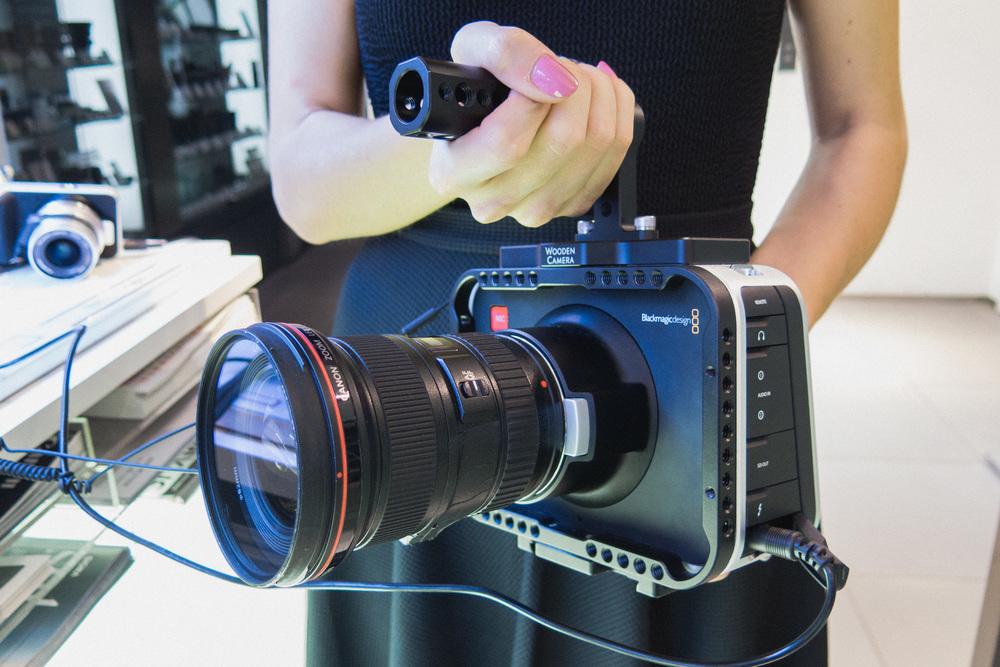 BlackmagicDesign Cinema Camera with Wooden Camera cage