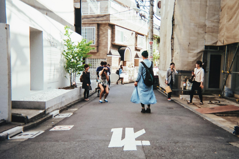 Ania B on the job, capturing Tokyo style