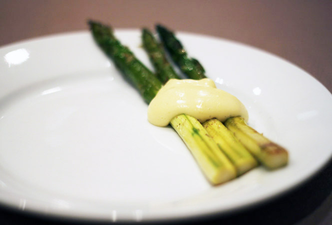 hollandaise over asparagus
