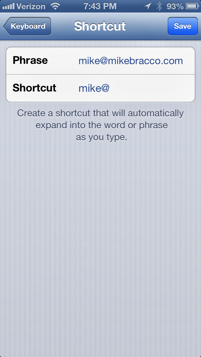 iOS Shortcut Feature