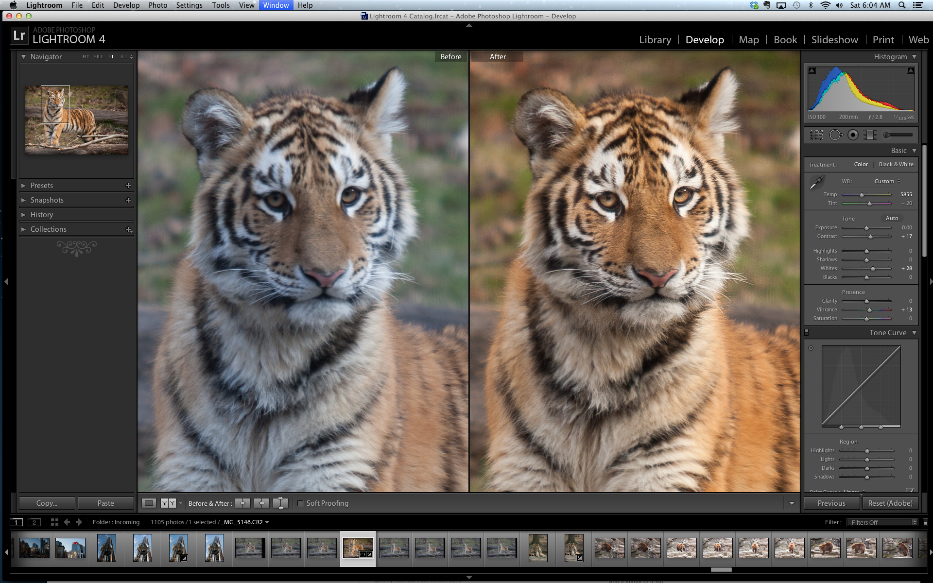 A closer look at the before and after files in Lightroom 4.
