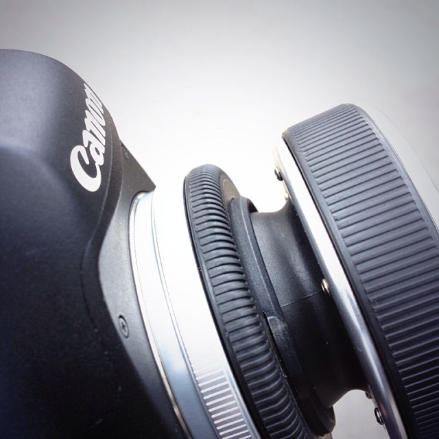 The Lensbaby composer holds the Fisheye lens, mounted on the Canon 6D.
