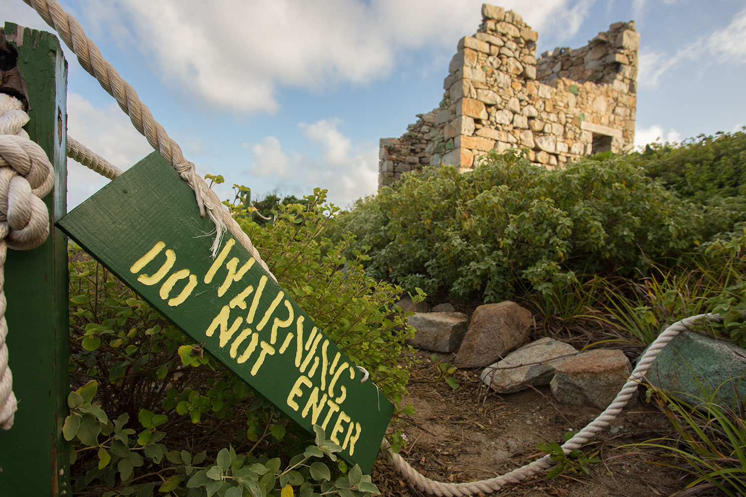 The ruins of this 19th century Copper Mine in Virgin Gorda are now abandoned.