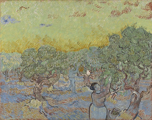 Van Gogh's Olive Grove with two olive pickers