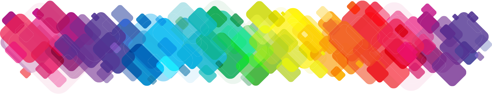 A repeating pattern of shifting colors represents the multiple  mobile screens that unite at the event .Each conference has a  distinguishing  color palette.