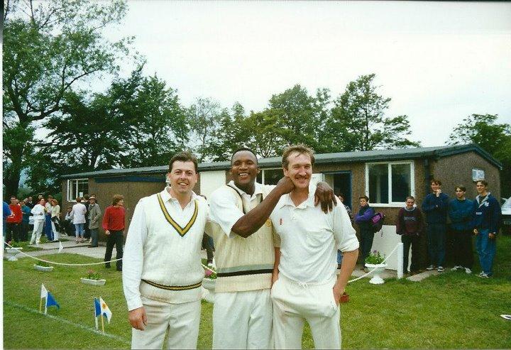 League Representative Match, Richard Margrave (left), Devon Malcolm (centre), punching Barry McManus (right)