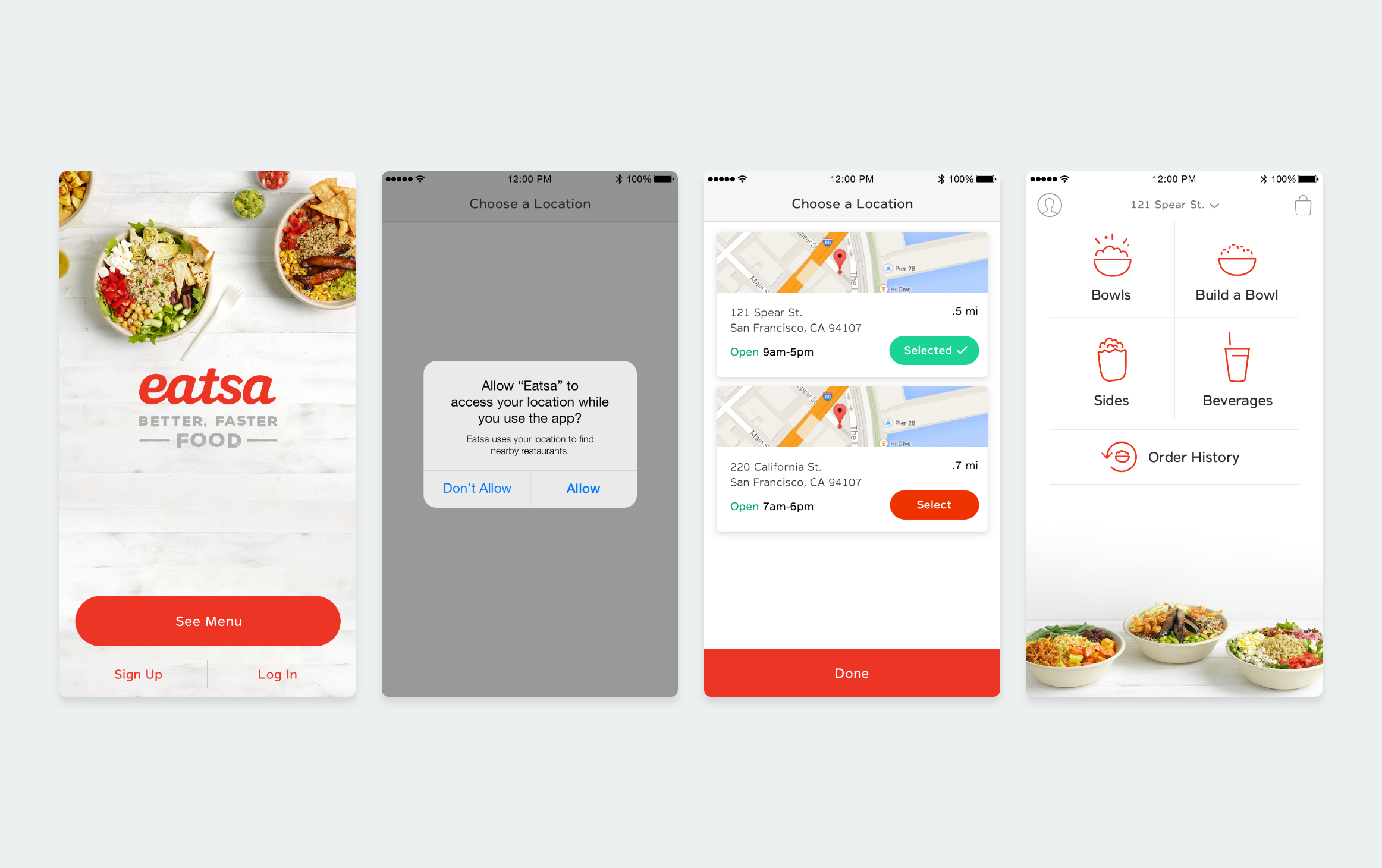 We wanted customers to get into the app super fast, so they were presented with the menu quickly.    1. We started off testing a landing view (#1) where the main call to action was to see the menu. Although this was headed in the right direction, we challenged ourselves to make this transition even easier.