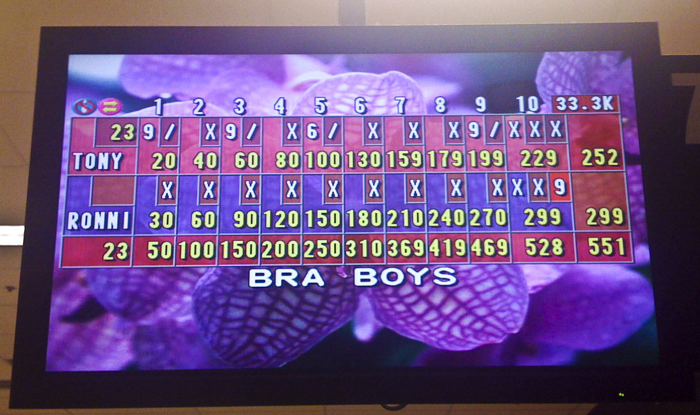 My bowling partner got a 300 game!!
