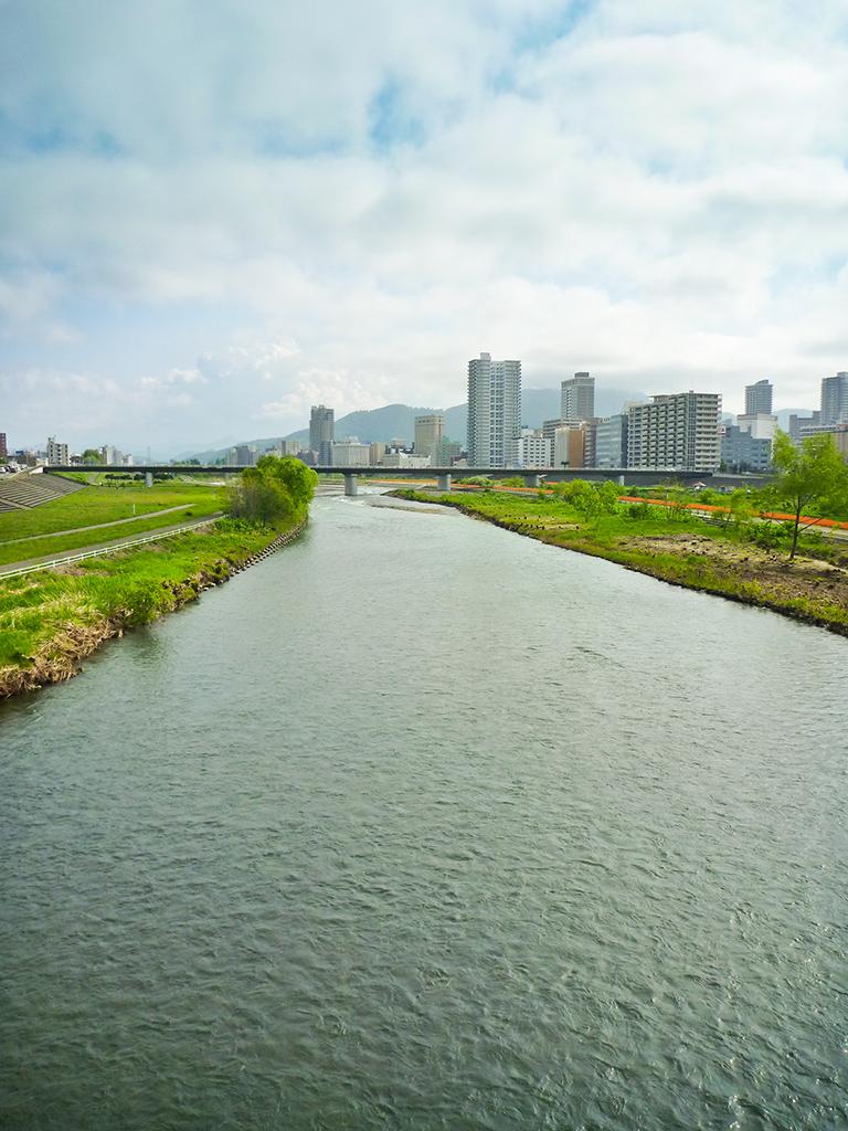 Toyohira River looking toward the Moiwa Mountains
