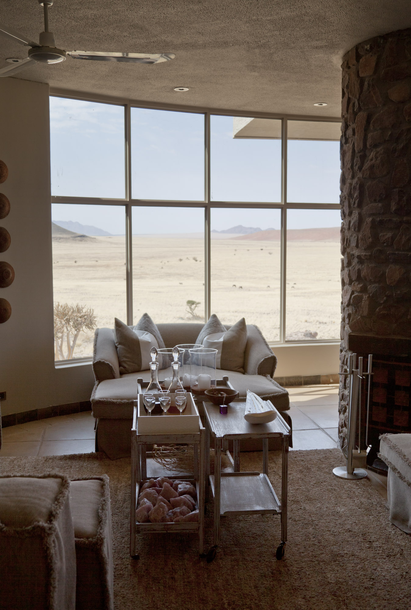 Looking toward the dunes from the lounge