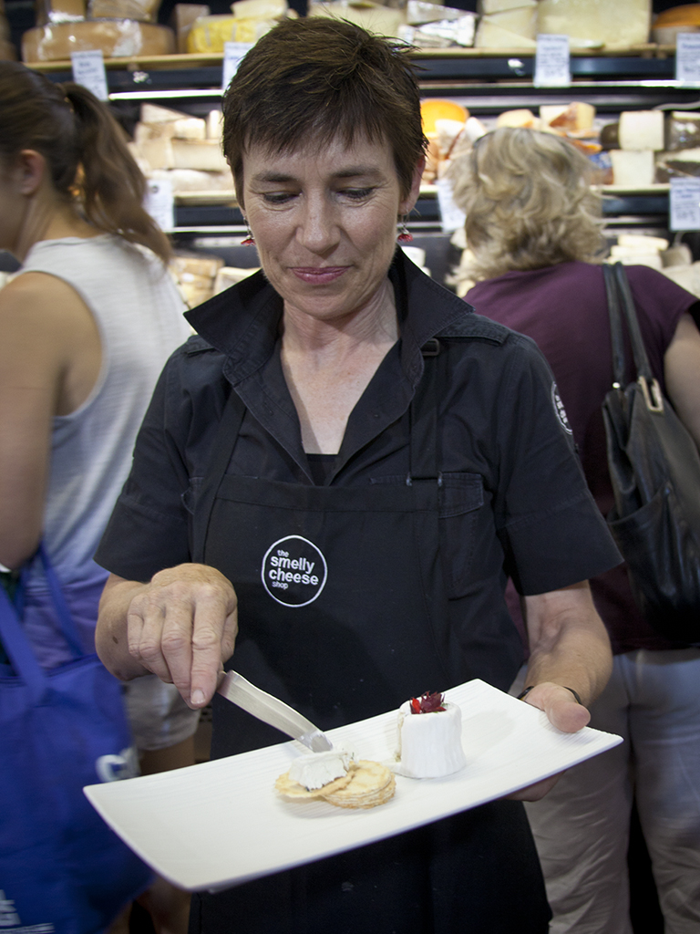 Linda with samples of the goats cheese, not smelly at all